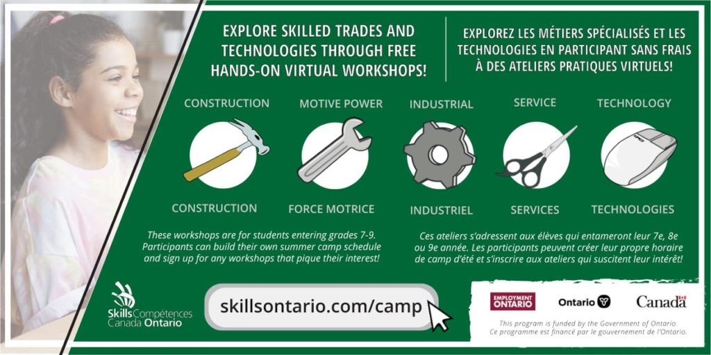 Free Skills Ontario Summer Camps To Be Offered to Grade 7-9 Students